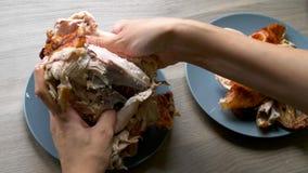 Το ψημένο στη σχάρα κοτόπουλο βάζει σε ένα μπλε πιάτο φιλμ μικρού μήκους