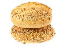 το ψωμί απομόνωσε τους ρόλους δύο λευκό στοκ εικόνες