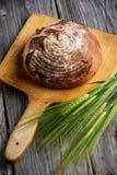 Το ψωμί σίκαλης με τα σιτάρια ξύλινο breadboard, υπόβαθρο τροφίμων, έψησε πρόσφατα το παραδοσιακό ψωμί στοκ εικόνες