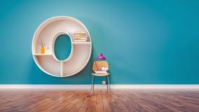 Το δωμάτιο για την εκμάθηση του γράμματος Ο έχει σχεδιάσει ένα ράφι διανυσματική απεικόνιση