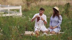Το όμορφες άτομο και η έγκυος γυναίκα ζευγών τρώνε τα κόκκινα σταφύλια τρόφιμα υγιή νωποί καρποί Ευτυχές χαμόγελο γυναικών απόθεμα βίντεο