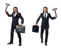 Το όμορφες σφυρί και η περίπτωση εκμετάλλευσης επιχειρηματιών που απομονώνονται στο λευκό στοκ φωτογραφία