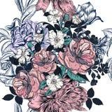 Το όμορφο άνευ ραφής σχέδιο με συρμένα τα χέρι τριαντάφυλλα και ακμάζει Στοκ Φωτογραφίες