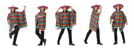 Το όμορφο άτομο poncho που απομονώνεται ζωηρό στο λευκό Στοκ Φωτογραφία