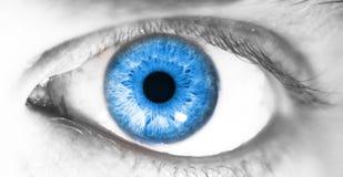 Το όμορφο ανθρώπινο μάτι, μακροεντολή, κλείνει επάνω μπλε, κίτρινος, καφετής, πράσινος Στοκ φωτογραφία με δικαίωμα ελεύθερης χρήσης