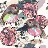 Το όμορφο βοτανικό σχέδιο στο εκλεκτής ποιότητας ύφος με τα πουλιά και αυξήθηκε Στοκ Εικόνα