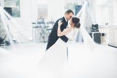 Το όμορφο γαμήλιο ζεύγος πάντρεψε ακριβώς και χορεύοντας ο πρώτος χορός τους στοκ εικόνα