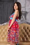 Το όμορφο ευτυχές brunette σε ένα φωτεινό φόρεμα στέκεται κοντά σε έναν καναπέ δέρματος Στοκ Εικόνες