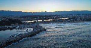 Το όμορφο ηλιοβασίλεμα της παραλίας Gangneung Anmok Στοκ εικόνα με δικαίωμα ελεύθερης χρήσης