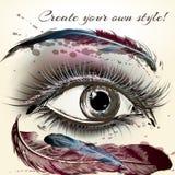 Το όμορφο θηλυκό μάτι με αποτελεί το χέρι το χρωματισμένο διανυσματικό illustrati Στοκ Εικόνες