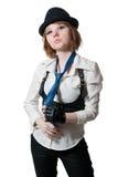 Το όμορφο κορίτσι έντυσε ως γκάγκστερ Στοκ Εικόνες