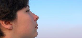 το όμορφο κορίτσι απόστασης κοιτάζει επίμονα την προσοχή Στοκ Φωτογραφίες