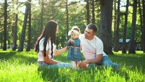 Το όμορφο κορίτσι μικρών παιδιών με τους γονείς απολαμβάνει το καλοκαίρι στην πράσινη χλόη στο ηλιόλουστο πάρκο απόθεμα βίντεο