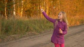 Το όμορφο κορίτσι πιάνει τις φυσαλίδες σαπουνιών Δασικός δρόμος τοπίου φθινοπώρου Χρυσό φθινόπωρο Σε αργή κίνηση φορητός απόθεμα βίντεο