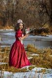 Το όμορφο κορίτσι στο εκλεκτής ποιότητας κόκκινο φόρεμα με αυξήθηκε Στοκ Φωτογραφίες