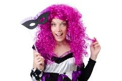 Το όμορφο κορίτσι jester στο κοστούμι επάνω Στοκ Εικόνες