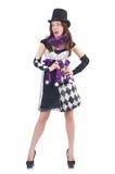 Το όμορφο κορίτσι jester στο κοστούμι με τη μάσκα Στοκ φωτογραφία με δικαίωμα ελεύθερης χρήσης