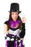 Το όμορφο κορίτσι jester στο κοστούμι που απομονώνεται επάνω Στοκ Φωτογραφία