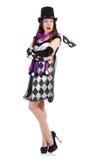 Το όμορφο κορίτσι jester στο κοστούμι που απομονώνεται επάνω Στοκ εικόνα με δικαίωμα ελεύθερης χρήσης