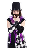 Το όμορφο κορίτσι jester στο κοστούμι που απομονώνεται επάνω Στοκ Εικόνες