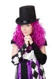 Το όμορφο κορίτσι jester στο κοστούμι που απομονώνεται επάνω Στοκ εικόνες με δικαίωμα ελεύθερης χρήσης