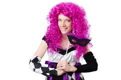 Το όμορφο κορίτσι jester στο κοστούμι που απομονώνεται επάνω Στοκ φωτογραφίες με δικαίωμα ελεύθερης χρήσης