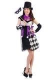 Το όμορφο κορίτσι jester στο κοστούμι που απομονώνεται επάνω Στοκ Εικόνα