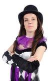 Το όμορφο κορίτσι jester στο κοστούμι που απομονώνεται επάνω Στοκ Φωτογραφίες
