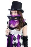 Το όμορφο κορίτσι jester στο κοστούμι Στοκ εικόνες με δικαίωμα ελεύθερης χρήσης