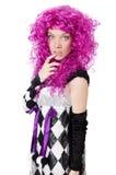 Το όμορφο κορίτσι jester στο κοστούμι Στοκ Φωτογραφία