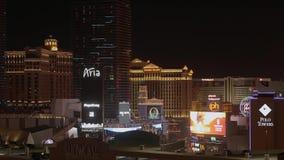 Το όμορφο Λας Βέγκας τη νύχτα - τα διάσημα ξενοδοχεία - ΗΠΑ 2017 απόθεμα βίντεο