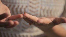 Το όμορφο μέτριο κορίτσι αγγίζει ήπια το χέρι του αγαπημένου ατόμου της απόθεμα βίντεο