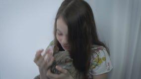 Το όμορφο μικρό κορίτσι επικοινωνεί ήπια με την αγαπημένη γάτα σας στο παράθυρο φιλμ μικρού μήκους