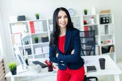 Το όμορφο νέο κορίτσι σε ένα επιχειρησιακό κοστούμι στέκεται στο γραφείο, που κλίνει σε έναν πίνακα Στοκ εικόνες με δικαίωμα ελεύθερης χρήσης