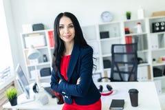 Το όμορφο νέο κορίτσι σε ένα επιχειρησιακό κοστούμι στέκεται στο γραφείο, που κλίνει σε έναν πίνακα Στοκ εικόνα με δικαίωμα ελεύθερης χρήσης