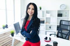 Το όμορφο νέο κορίτσι σε ένα επιχειρησιακό κοστούμι στέκεται στο γραφείο, που κλίνει σε έναν πίνακα Στοκ φωτογραφίες με δικαίωμα ελεύθερης χρήσης