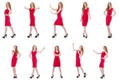 Το όμορφο νέο κορίτσι φόρεμα που απομονώνεται στο κόκκινο στο λευκό στοκ φωτογραφία με δικαίωμα ελεύθερης χρήσης