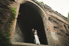 Το όμορφο παραμύθι το ζεύγος που αγκαλιάζει κοντά στο παλαιό μεσαιωνικό κάστρο Στοκ εικόνα με δικαίωμα ελεύθερης χρήσης