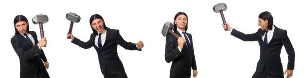 Το όμορφο σφυρί εκμετάλλευσης επιχειρηματιών που απομονώνεται στο λευκό στοκ φωτογραφίες με δικαίωμα ελεύθερης χρήσης