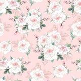 Το όμορφο σχέδιο watercolor με peony και αυξήθηκε λουλούδια Σχέδιο με απεικόνιση αποθεμάτων