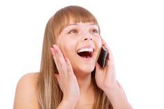το όμορφο τηλέφωνο γέλιων &k στοκ φωτογραφία με δικαίωμα ελεύθερης χρήσης
