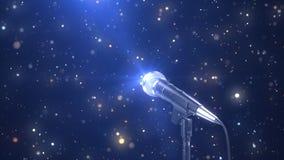 Το όμορφο υπόβαθρο καραόκε με ένα μικρόφωνο και μαγικά μόρια, τρισδιάστατα δίνει στοκ εικόνα