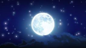 Το όμορφο φεγγάρι λάμπει με τα αστέρια και τα σύννεφα Περιτυλιγμένη ζωτικότητα HD 1080 διανυσματική απεικόνιση
