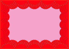 Το όμορφο φωτεινό κόκκινο πλαίσιο δαντελλών Στοκ φωτογραφία με δικαίωμα ελεύθερης χρήσης