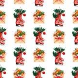 Το όμορφο χέρι χρωμάτισε το σχέδιο χειμερινών διακοπών του φακέλου με την κόκκινη κορδέλλα και τα στοιχεία της διάθεσης Χριστουγέ διανυσματική απεικόνιση