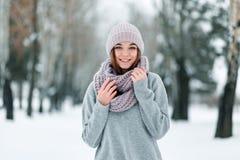 Το όμορφο χαμογελώντας κορίτσι στέκεται στο δρόμο σε ένα καπέλο και το πουλόβερ το χειμώνα στοκ φωτογραφία