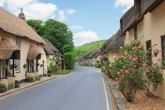 Το όμορφο χωριό lulworth με τα σπίτια και το ντεκόρ λουλουδιών Στοκ Εικόνα