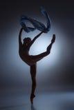 Το όμορφο ballerina που χορεύει με το μπλε πέπλο Στοκ Εικόνα