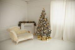 Το όμορφο holdiay διακοσμημένο δωμάτιο με το χριστουγεννιάτικο δέντρο με παρουσιάζει κάτω από το Στοκ φωτογραφίες με δικαίωμα ελεύθερης χρήσης