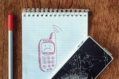 Το όνειρο, επιθυμία απεικόνισης, χρειάζεται μια νέα τηλεφωνική έννοια Στοκ εικόνες με δικαίωμα ελεύθερης χρήσης